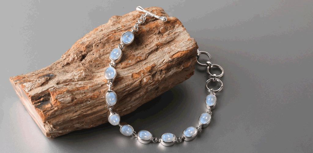 Wearing the easy breezy moonstone bracelets